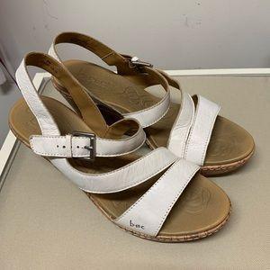 White wedge sandals